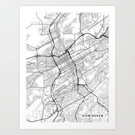 Birmingham Map, Alabama USA - Black & White Portrait Art Print