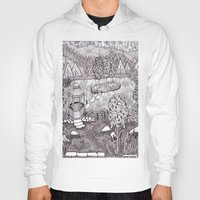 vermont Hoodies featuring Zentangle Vermont Mountain Pond by Vermont Greetings