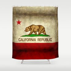 California Republic Retro Flag Shower Curtain