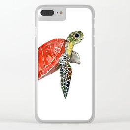 Sea Turtle red green turtle design, trutle illustration Clear iPhone Case