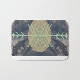 Mountains With Green Bath Mat