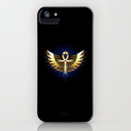 Gold Ankh with Wings iPhone Case