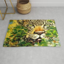Wildlife Painting Series 3 - Leopard in preying pose Rug