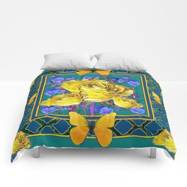 TEAL BLUE ART & YELLOW ROSE BLUE MORNING GLORY FLOWERS Comforters