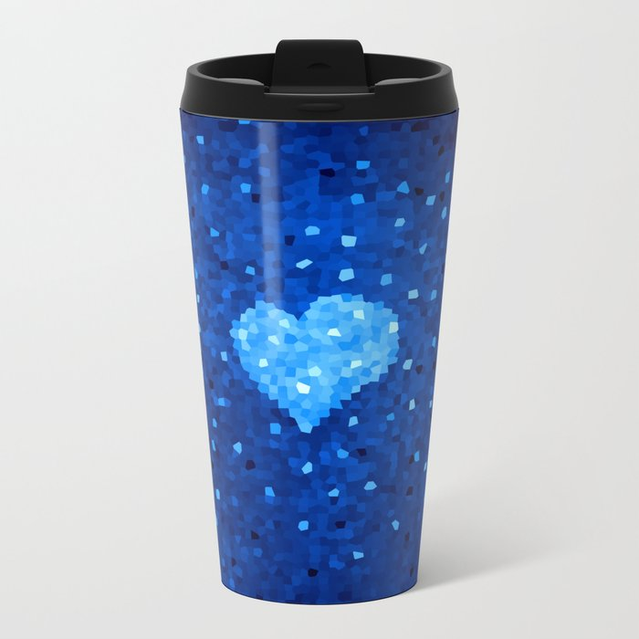 Winter Blue Crystallized Abstract Heart Metal Travel Mug