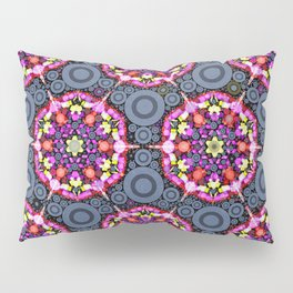 Floral Patterns and Gray Circles Pillow Sham
