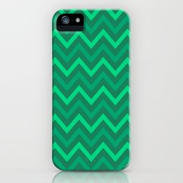 Emerald and Green Chevron Pattern iPhone Case