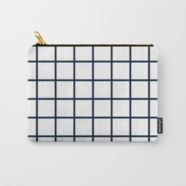 GRID DESIGN (NAVY BLUE-WHITE) Carry-All Pouch