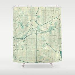 Fort Worth Map Blue Vintage Shower Curtain