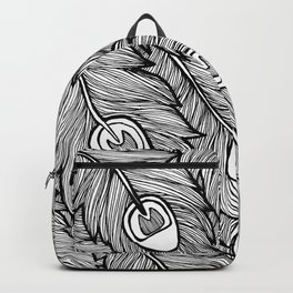 Black & White Peacock Feathers Backpack