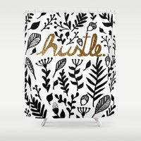 hustle Shower Curtains featuring Hustle by wildpink