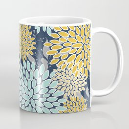 Floral Prints and Leaves, Navy Blue, Aqua, Yellow and Gray Coffee Mug
