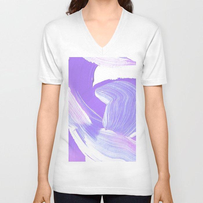 Shades of Purple Brush Stroke pattern #abstractart Unisex V-Neck