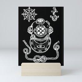 Deep Sea Diver Helmet Illustration Invert Mini Art Print