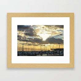 Sunset Over The Boat Harbour  Framed Art Print