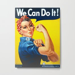 Rosie The Riveter Vintage Women Empower Women's Rights Sexual Harassment Metal Print
