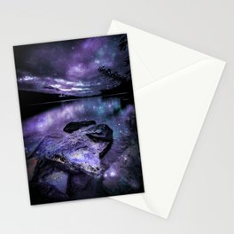 Magical Mountain Lake Purple Teal Stationery Cards