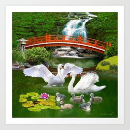 Swans and Baby Cygnets in an Oriental Landscape Art Print