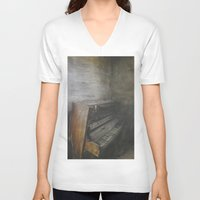 piano V-neck T-shirts featuring Piano by Claudia Ma