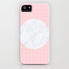 Pink, Grid & Marble Moon iPhone Case