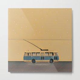 Trolleybus & stars Metal Print