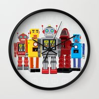 robots Wall Clocks featuring robots by notbook