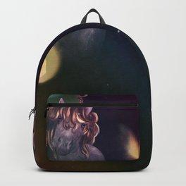 Unicorn portrait with yellow bokeh Backpack