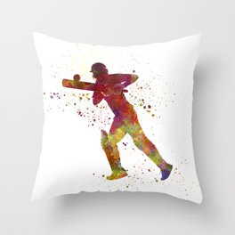 Cricket player batsman silhouette 06 Throw Pillow