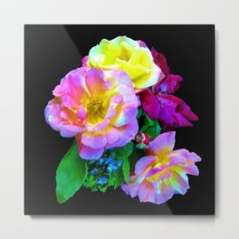Rosa Yellow Roses on Black Metal Print