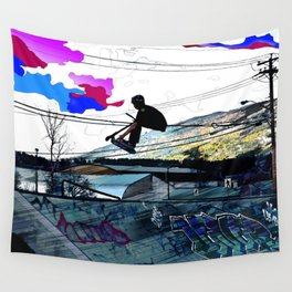 Let's Scoot! - Stunt Scooter at Skate Park Wall Tapestry