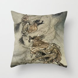 "Four Witches ""Up The Chimney"" by Arthur Rackam Throw Pillow"