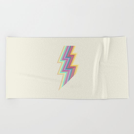 80's lightning Beach Towel