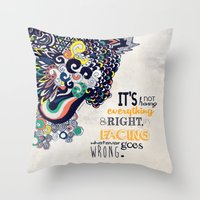 motivational Throw Pillows featuring Quote - Motivational  by Katie Melrose