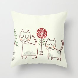 Cat couple and their plants. Throw Pillow