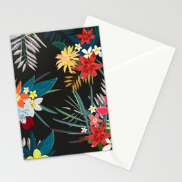 Frangipani, lily palm leaves tropical vibrant colored trendy summer pattern black background Stationery Cards