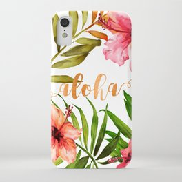 Aloha Watercolor Tropical Hawaiian leaves and flowers iPhone Case