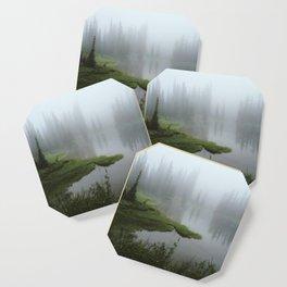 Foggy Tree Reflection Lake Coaster