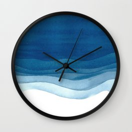 Watercolor blue waves Wall Clock