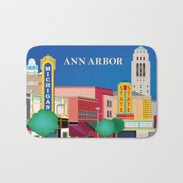 Ann Arbor, Michigan - Skyline Illustration by Loose Petals Bath Mat