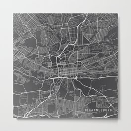Johannesburg Map, South Africa - Gray Metal Print