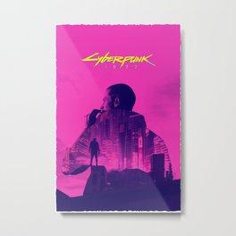 CyberPunk 2077 - Double Exposure Hoodie Pink Metal Print