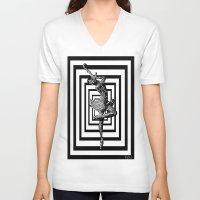 ballerina V-neck T-shirts featuring  Ballerina   by Saundra Myles