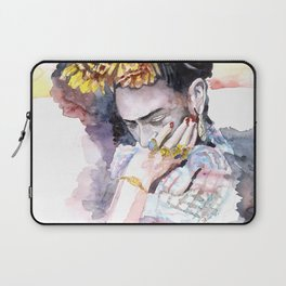 Frida Kahlo watercolor portrait Laptop Sleeve