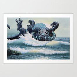 A North Atlantic Hydrobeest Frolics in the Waves Art Print