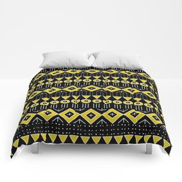 Mudcloth Style 2 in Black and Yellow Comforters