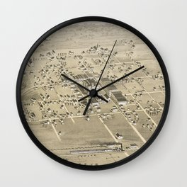 Vintage Pictorial Map of McKinney Texas (1876) Wall Clock