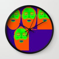 beard Wall Clocks featuring beard by Kathead Tarot/David Rivera
