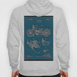 1902 Motorcycle Blueprint Patent in blue Hoody