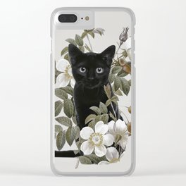 Cat With Flowers Clear iPhone Case