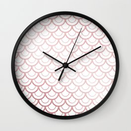 Simply Mermaid Scales in Rose Gold Sunset Wall Clock